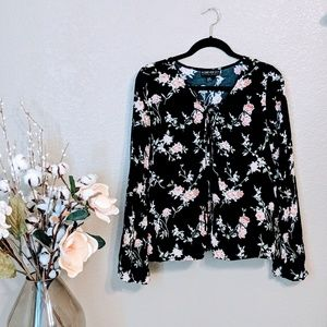 Forever 21 Black Floral Long Sleeve Blouse Sz 0X
